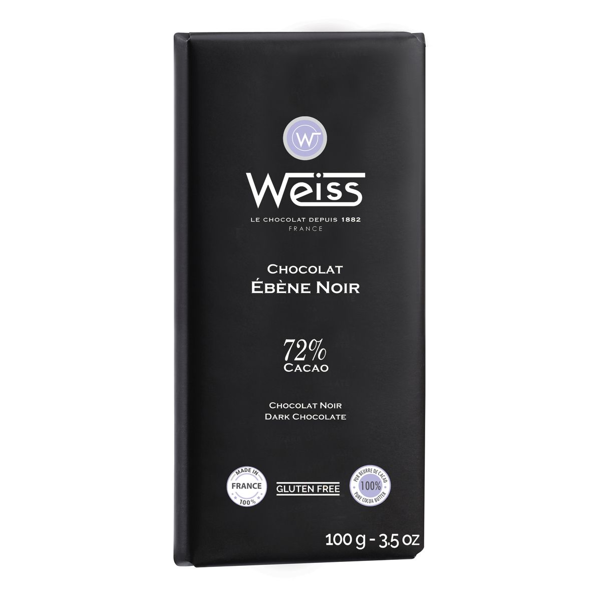 Tablette 100g ebene 72% - Weiss
