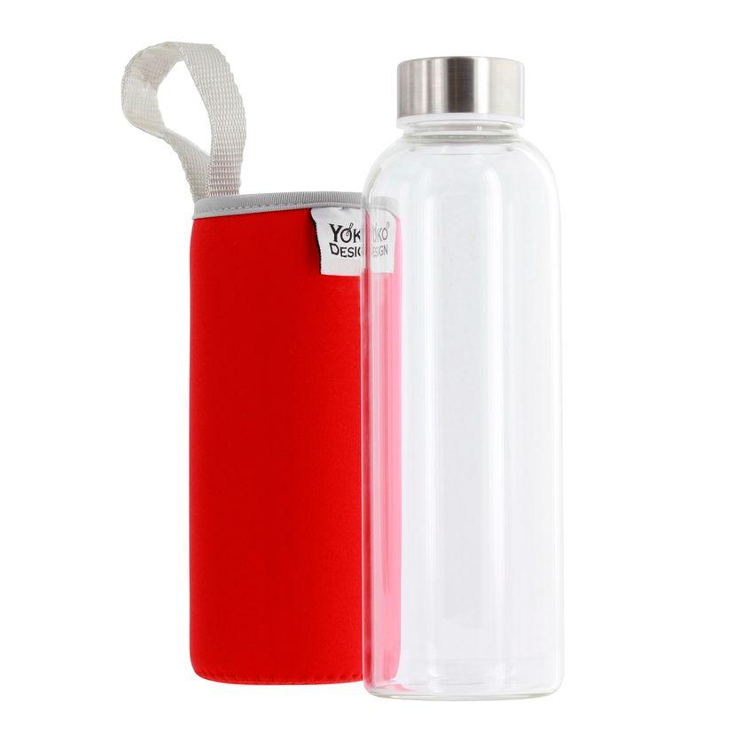 Bouteille en verre avec pochette neoprene rouge 500 ml - Yoko design
