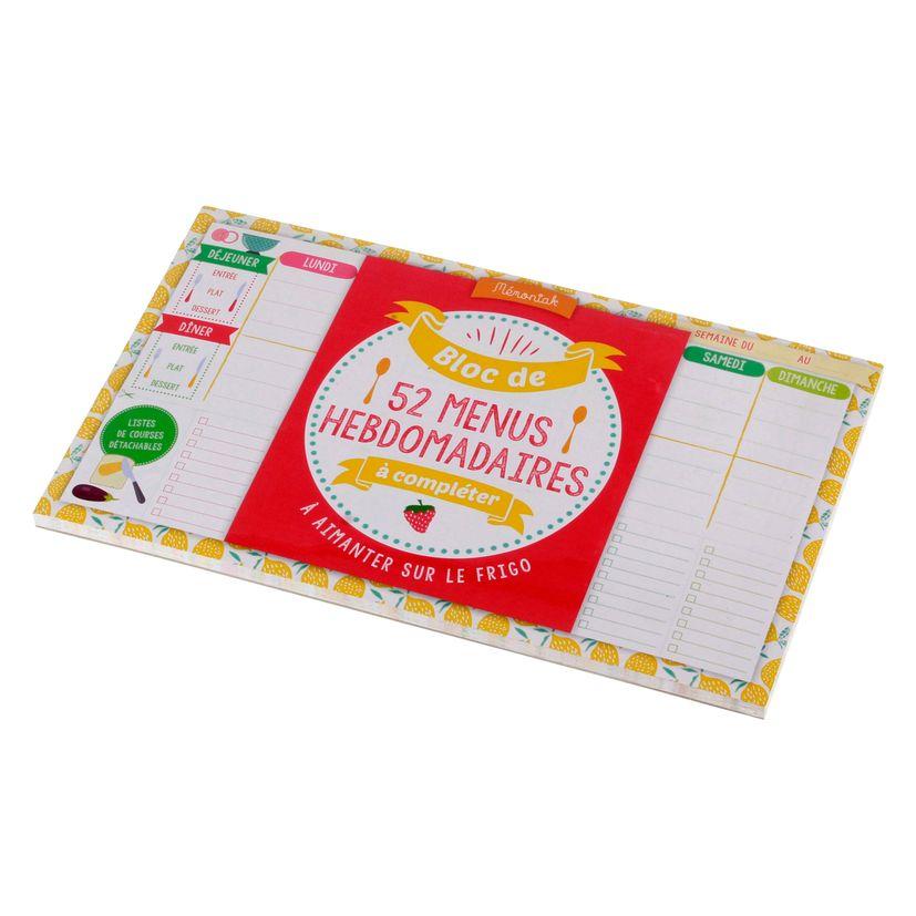Bloc de menus a completer Memoniak 2020 - Editions 365