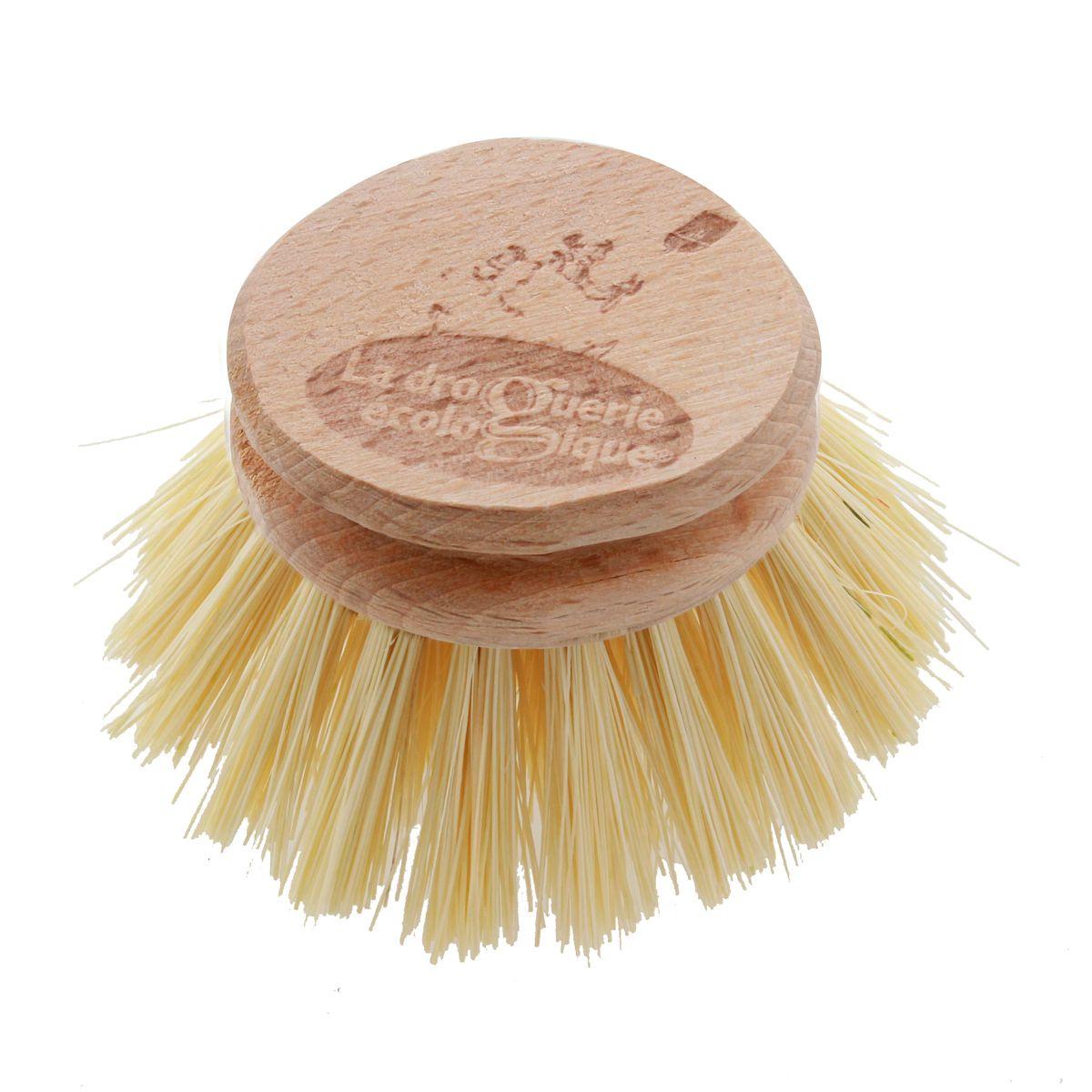 Recharge tête de brosse à vaisselle en fibres d´agave et bois de hêtre non traité 6 cm - La droguerie écologique