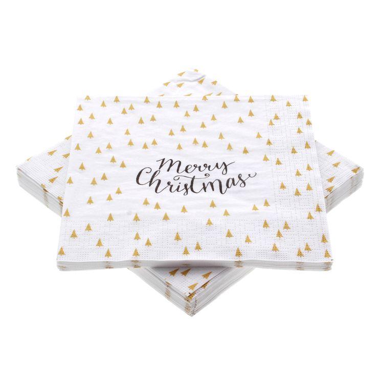 serviettes 33*33 cm Merry Christmas Trees white