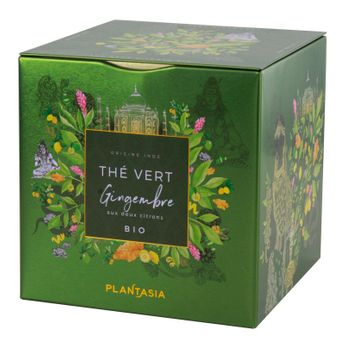 The vert gingembre aux 2 citrons bio* cube metal 48g - Plantasia