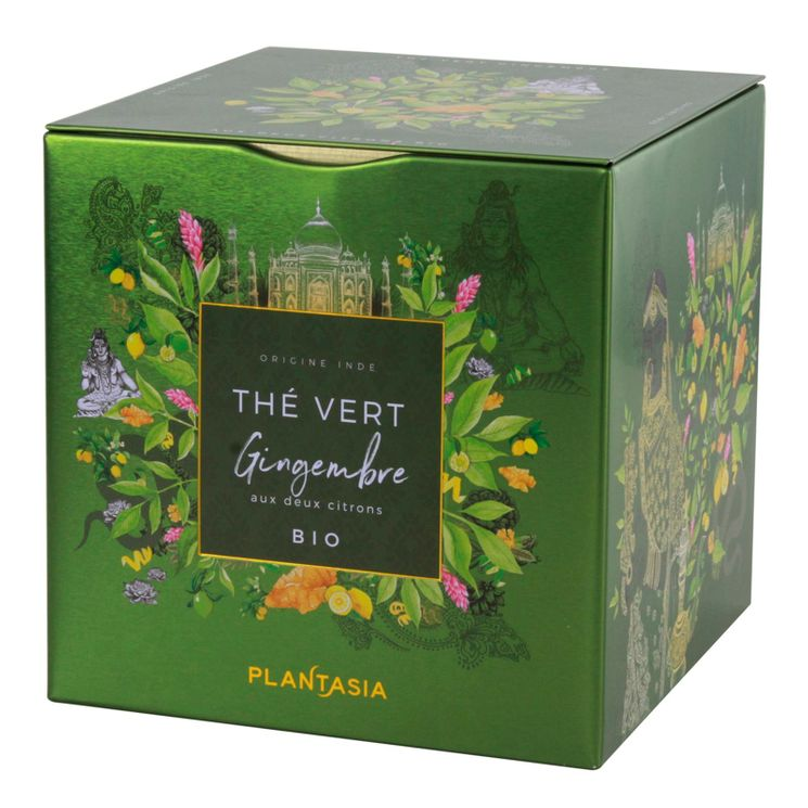 The vert gingembre aux 2 citrons bio* cube metal 48g - Plantasia