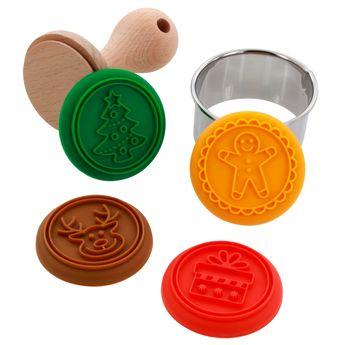 Tampon à biscuits en bois 4 dessins Noël - Alice Délice