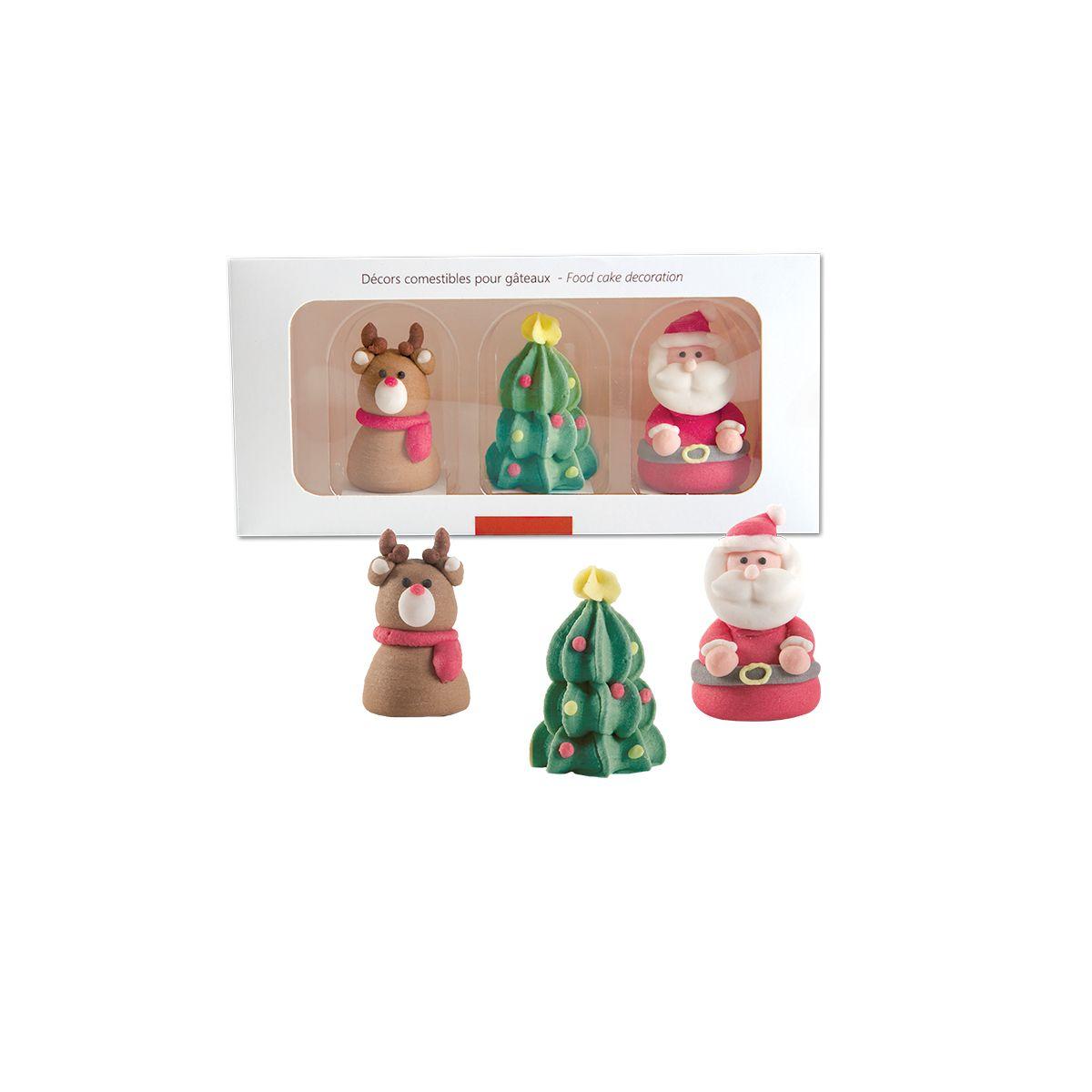 Set 3 sucres décoratifs 3D sapin. père Noël et renne