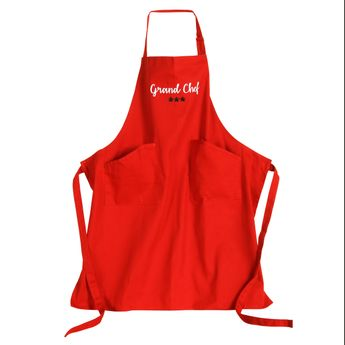 TABLIER ADULTE GRAND CHEF ROUGE 78X92CM