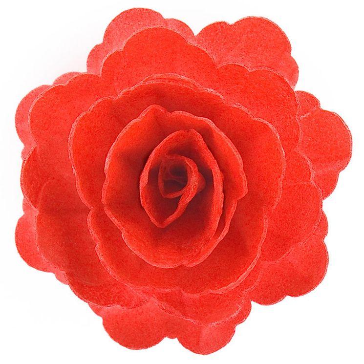 Rose rouge en azyme 12.5 cm - Dekora