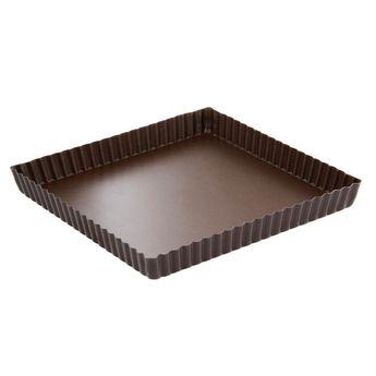 Achat en ligne Moule à tarte carré cannelé anti adhérent 23 cm hauteur 2.5 cm - Gobel