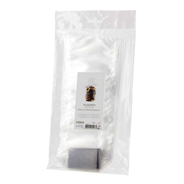 10 sachets confiseur avec fond cartonné 12 x 27 cm - Zodio