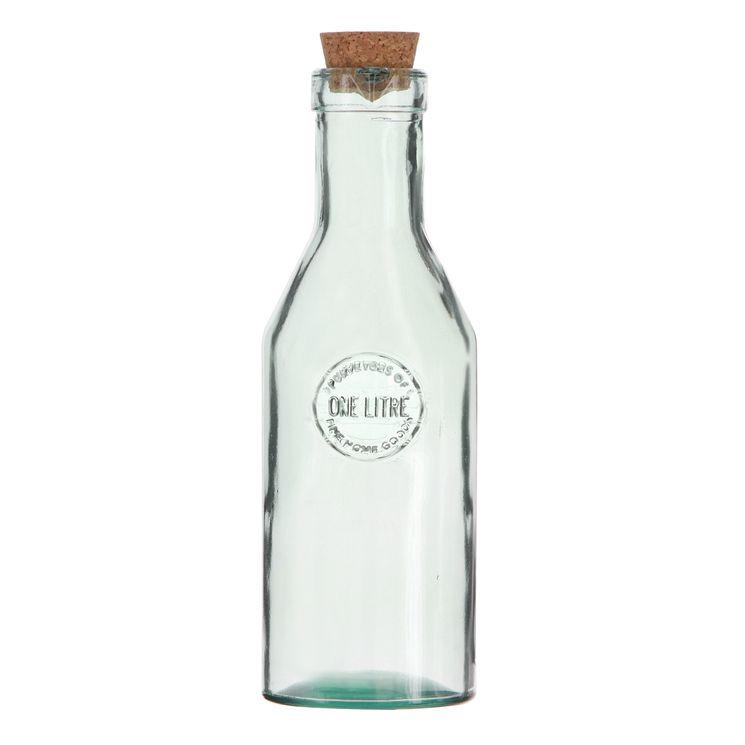 Bouteille en verre recyclé 1l avec bouchon en liège - Vidrios