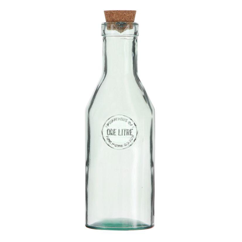 Bouteille en verre recyclé 1 L avec bouchon en liège - Vidrios