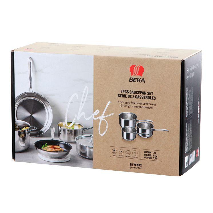 Set 3 casseroles inox Chef 16/18/20cm - Beka