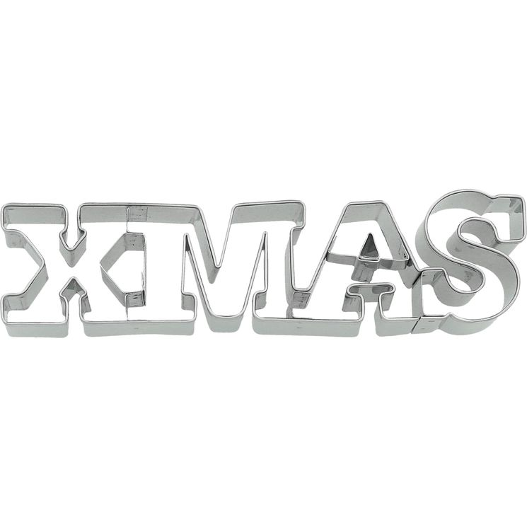Emporte-pièce en inox message XMAS Noël 14 cm - Birkmann
