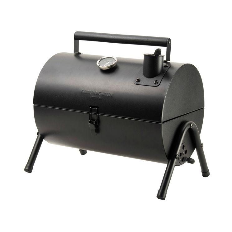 Barbecue à charbon et fumoir noir  37.5x25x38cm - Gusta