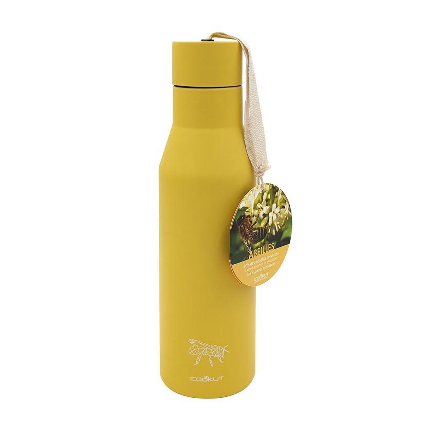 Bouteille isotherme nomade en inox jaune motif abeille 0.5 l 6 x 25 cm - Cookut