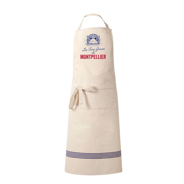Tablier les 3 grasses de Montpellier 100% coton 80 x 100 cm - Tissage de l´ouest