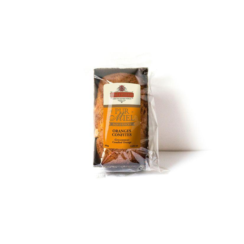 Pain d´épice pur miel Orange confite 65g Mulot Petit jean
