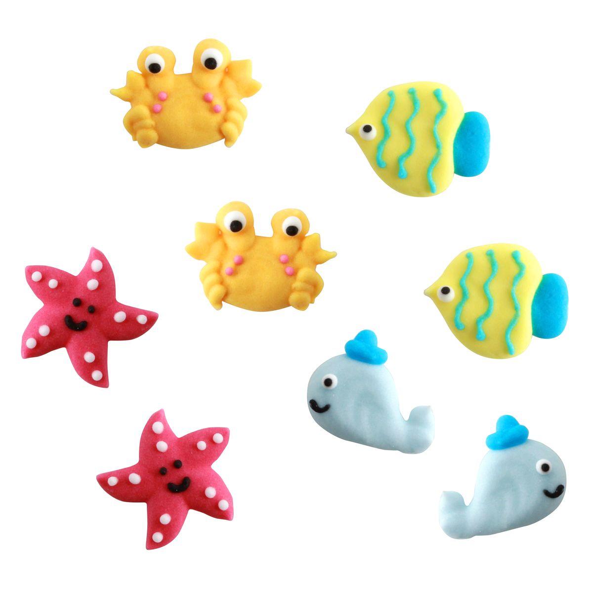 Plaque de décors comestibles : 8 décors thème sous marin : poisson, crabe, étoile de mer et baleine - Alice Délice