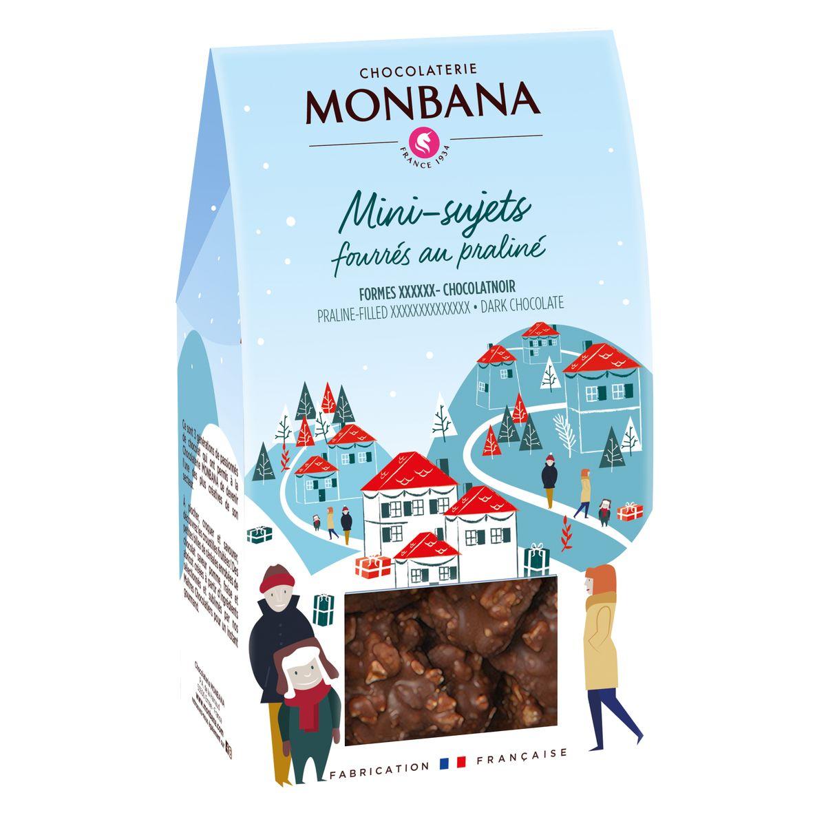 Mini sujets noel chocolat noir 130g - Monbana