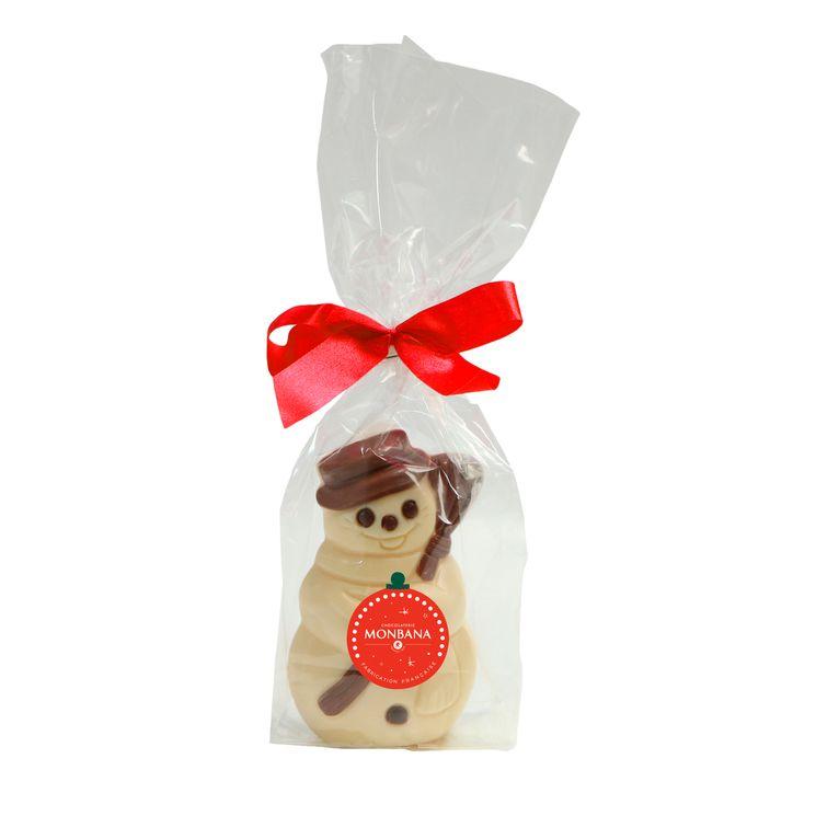 Bonhomme de neige chocolat blanc 50g - Monbana