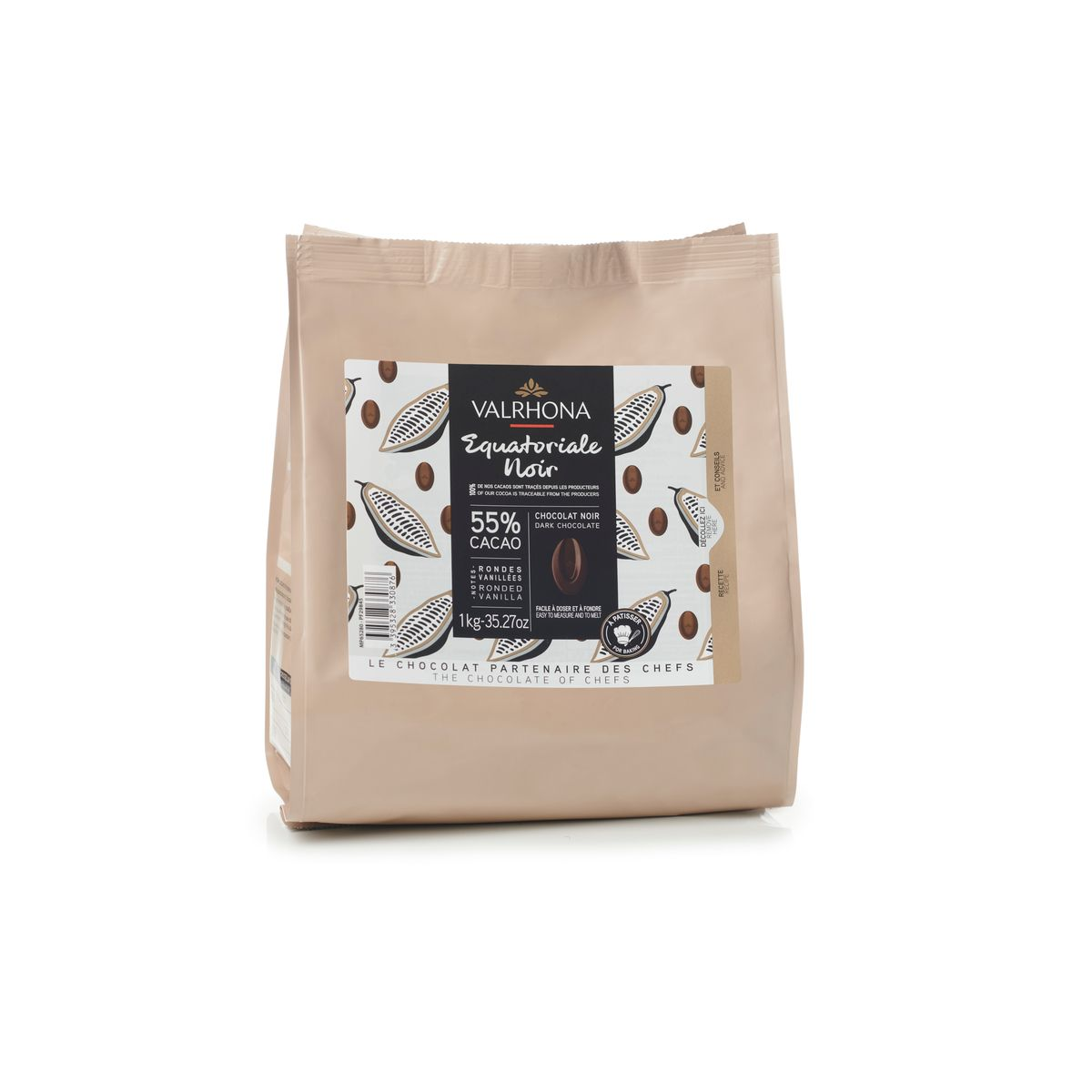 Chocolat noir à pâtisser Equatoriale Noir 55% 1kg - Valrhona