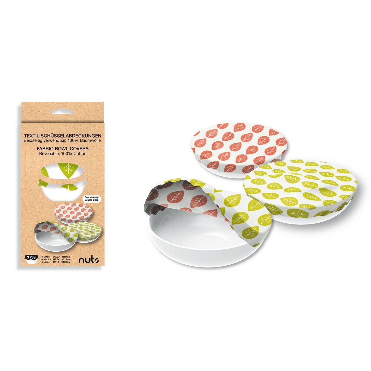 Set de 3 couvre-bols assortis 100% coton 20cm+25cm+30cm - Nuts