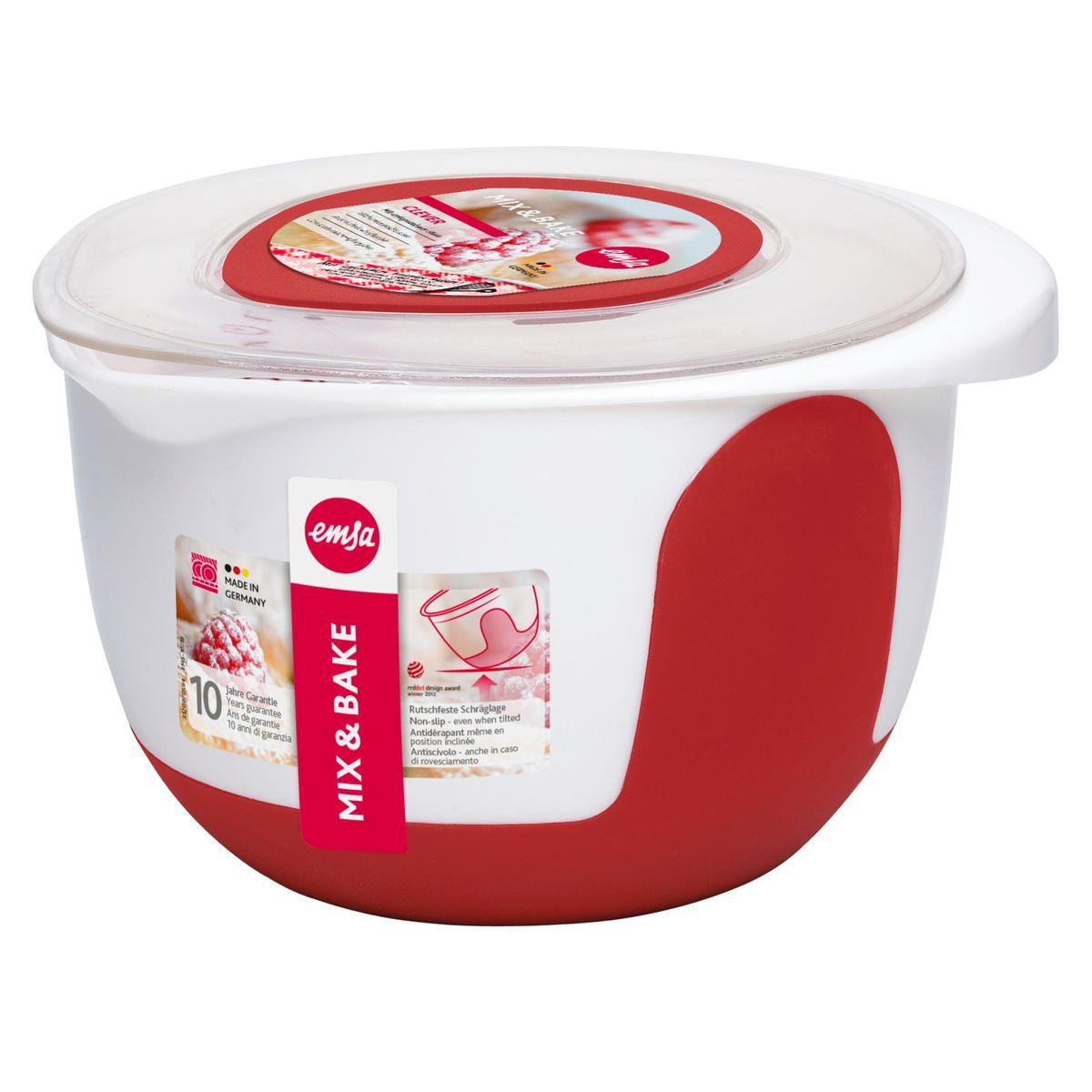 Bol de préparation Mix & Bake avec couvercle blanc et rouge 3 l - Emsa