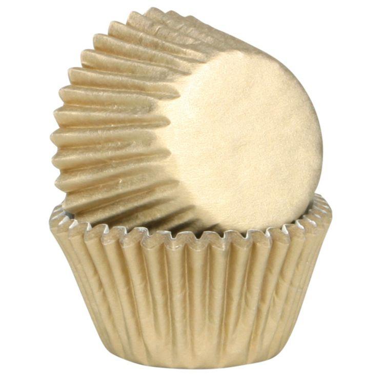 45 caissettes à cupcakes et muffins en papier doré 7.5 x 3.5 cm - Chevalier Diffusion