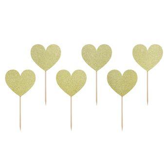 Achat en ligne Décor de gâteau : 6 coeurs dorés 11 cm - Party Deco
