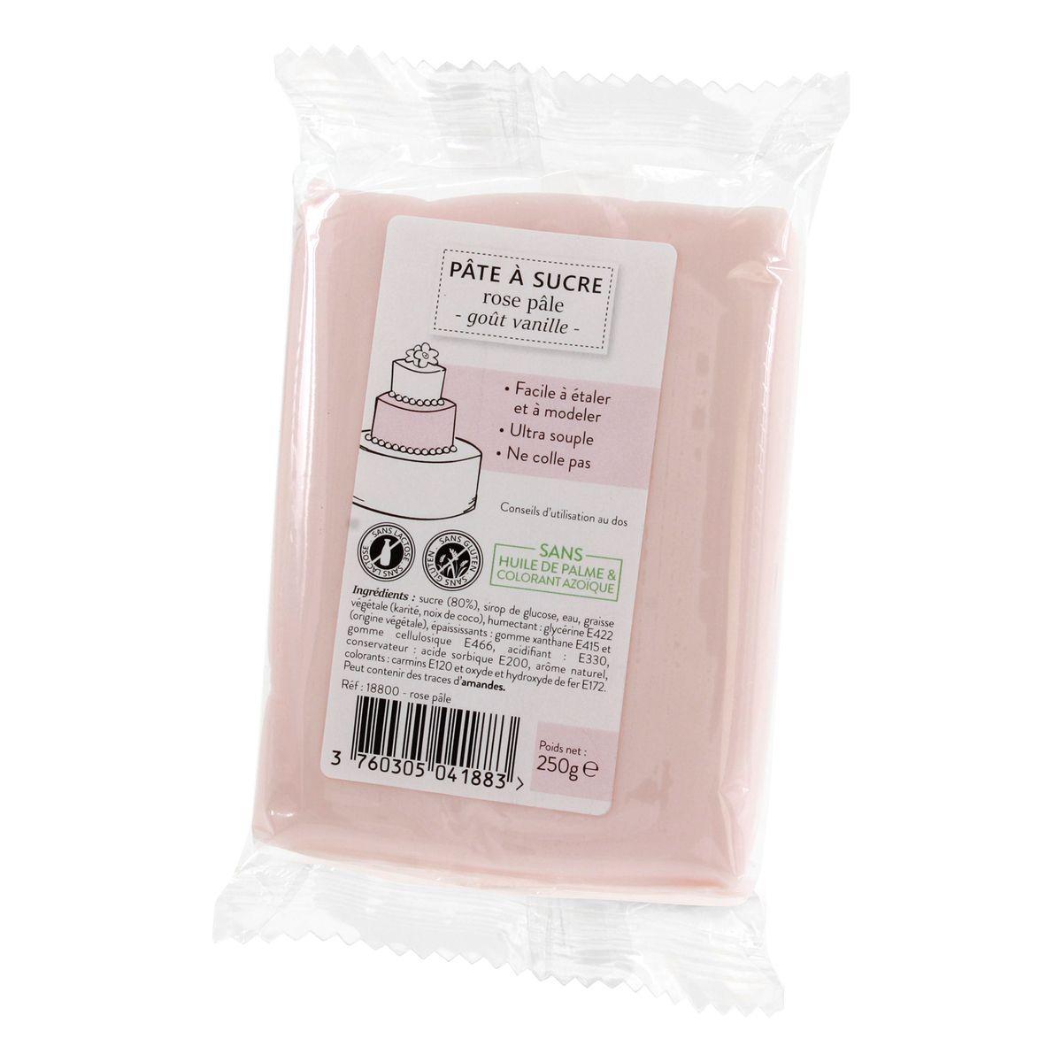 Pâte à sucre rose pâle 250g sans huile de palme