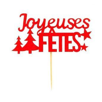 Achat en ligne Décor de gâteau : Joyeuses Fêtes X2 en bois rouge pour bûche de Noël - Patisdecor