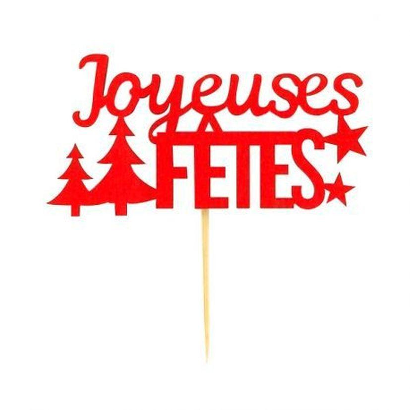 Décor de bûche et gâteau : Joyeuses Fêtes x 2 en bois rouge pour bûche de Noël - Patisdecor