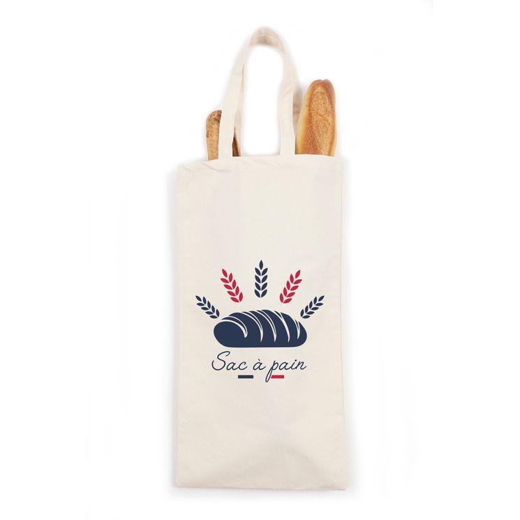 Sac à pain et baguettes en coton  59 x 28 cm Epis de blé - Tissage de L´Ouest