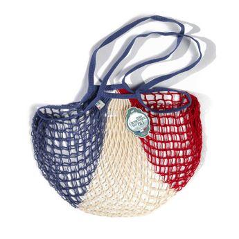 Achat en ligne Filets à provisions anses longues en coton bleu blanc rouge 40cmx70cm - Filt