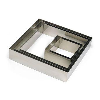 Achat en ligne Cadre à pâtisserie carré en inox 18 cm hauteur 4.5 cm - 4/6 parts  Alice Délice
