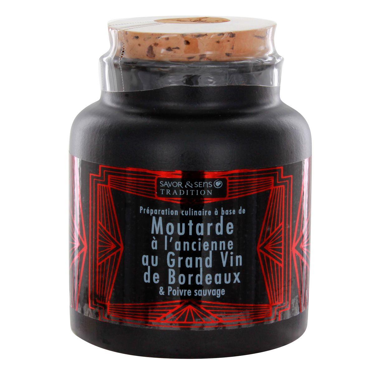 Moutarde à l'ancienne au grand vin de Bordeaux pot gres 110g - Savor et Sens