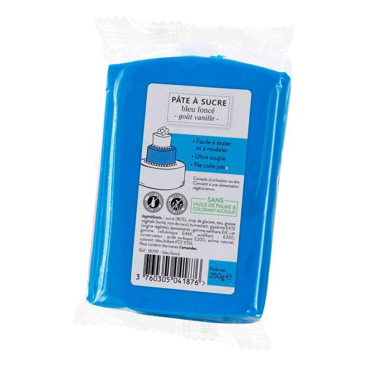 Pâte à sucre bleu foncé 250g sans huile de palme