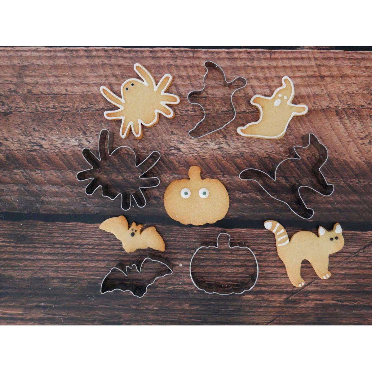 Set de 5 emporte-pièces en inox Halloween : araignée, fantôme, citrouille, chat et chauve souris - Alice Délice
