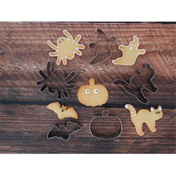 Achat en ligne Set de 5 emporte-pièces en inox Halloween : araignée, fantôme, citrouille, chat et chauve souris - Alice Délice