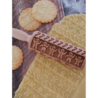 Achat en ligne Rouleau à empreintes en bois gingerman Noël 11 cm - Alice Délice