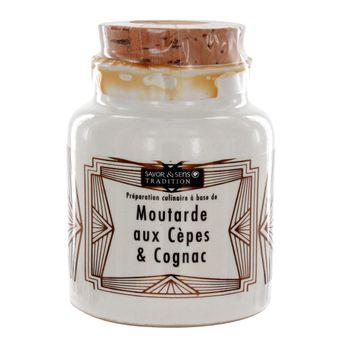 Achat en ligne Moutarde aux cépes et Cognac pot grés 110g - Savor et Sens