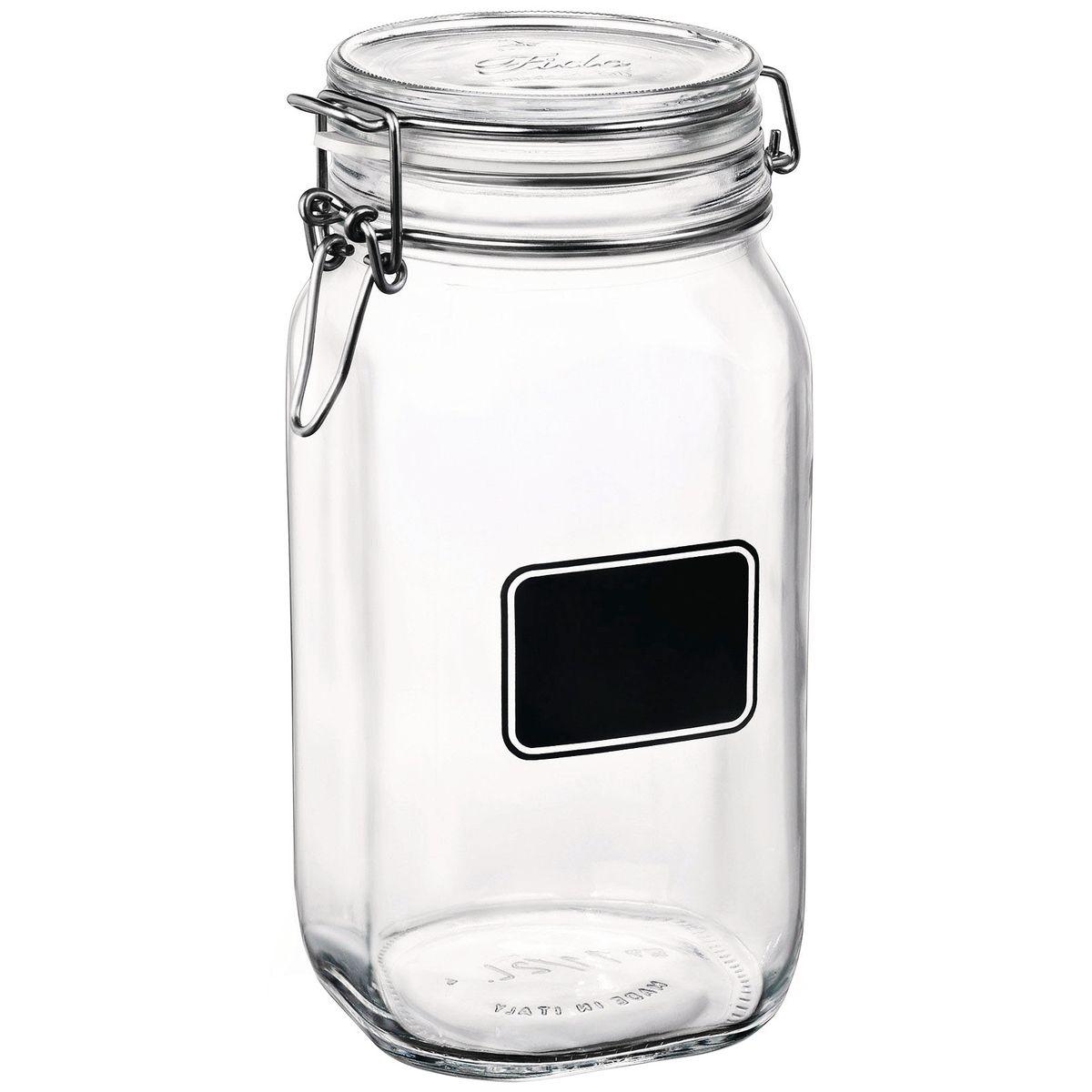 Bocal de conservation en verre avec etiquette 150 cl - Bormioli