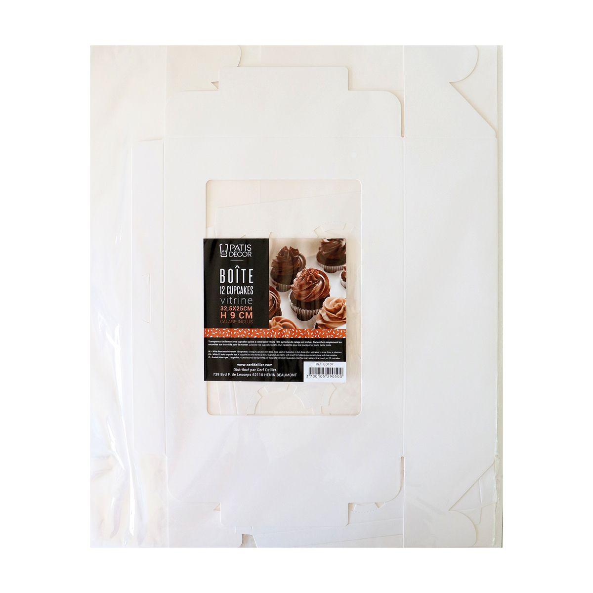 Boite de transport 12 cupcakes en carton blanc 32.5 x 25 x 9 cm - Patisdecor