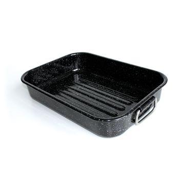 Achat en ligne Plat à four rectangulaire en acier émaillé long 40 cm avec anses rabattables - Kitchen Fun
