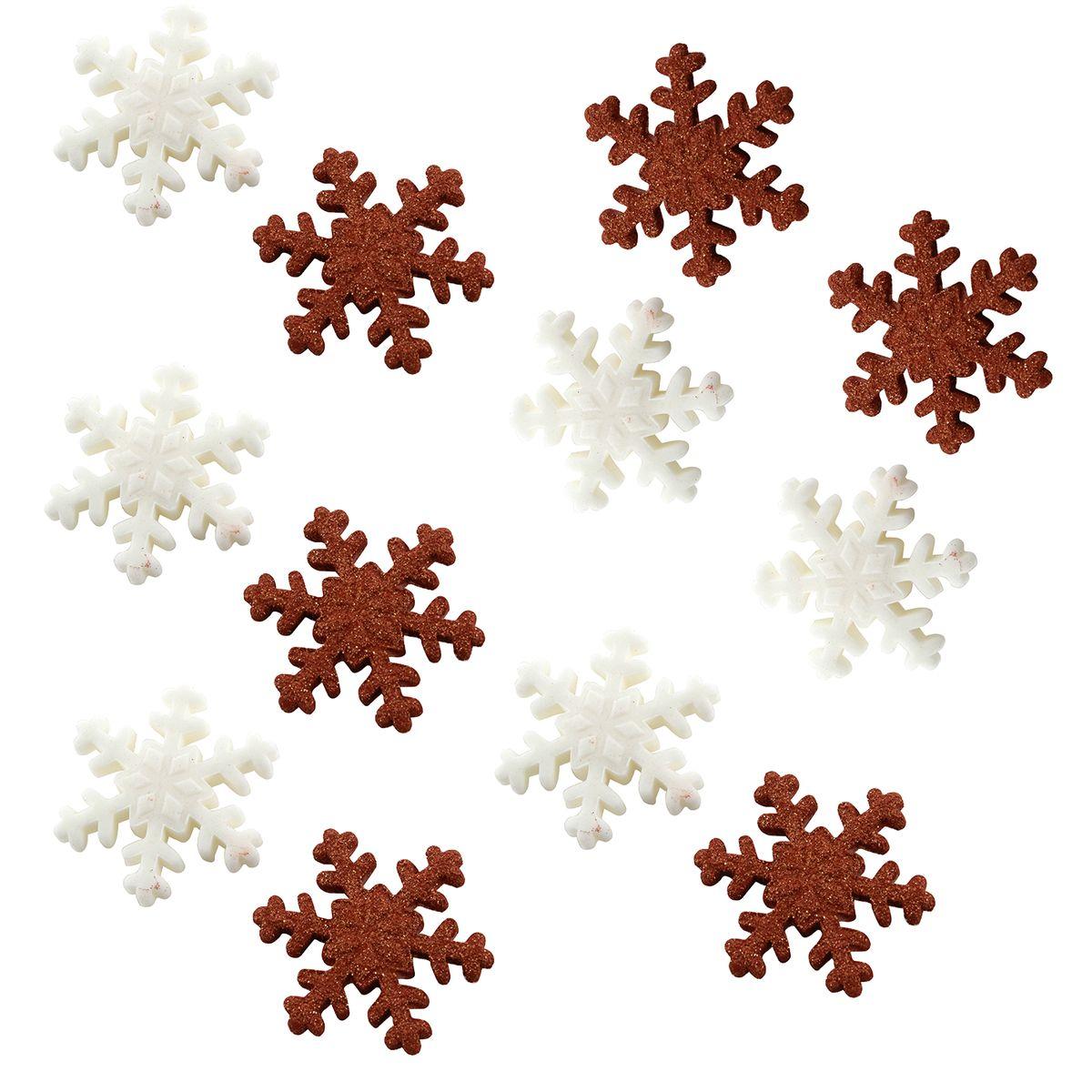 Plaque de décors comestibles : 12 flocons dorés et blancs Noël 3 cm