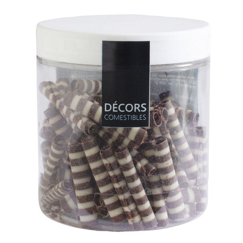 Décor en chocolat : petits rouleaux au deux chocolats noir et blanc 50 gr
