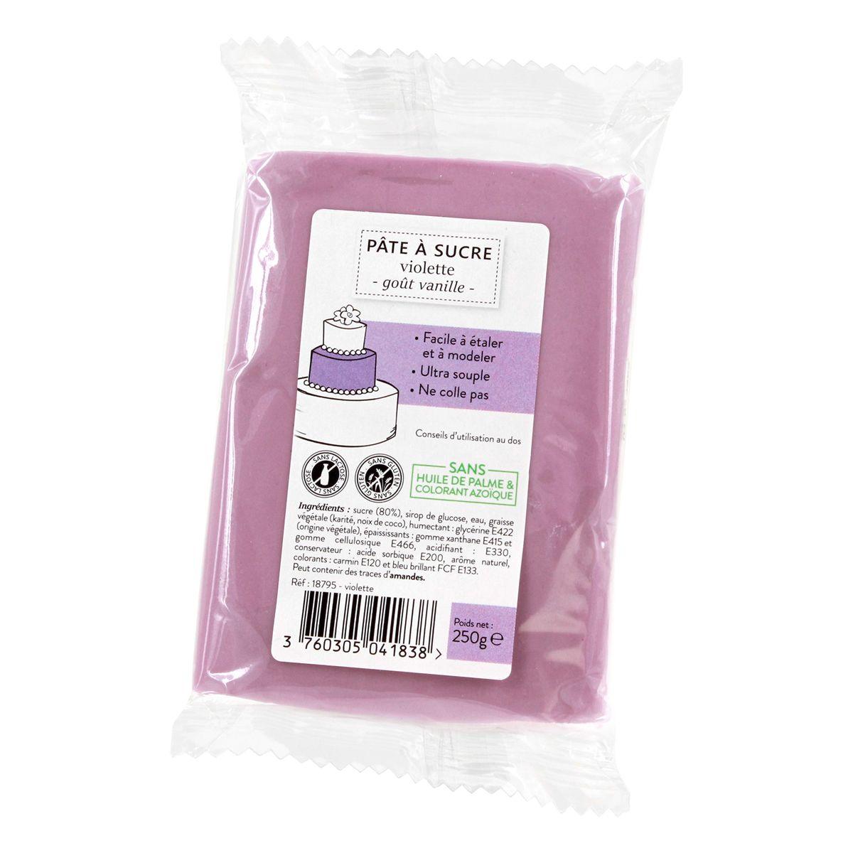 Pâte à sucre violette 250g sans huile de palme