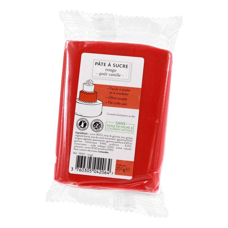 Pâte à sucre rouge 250g sans huile de palme