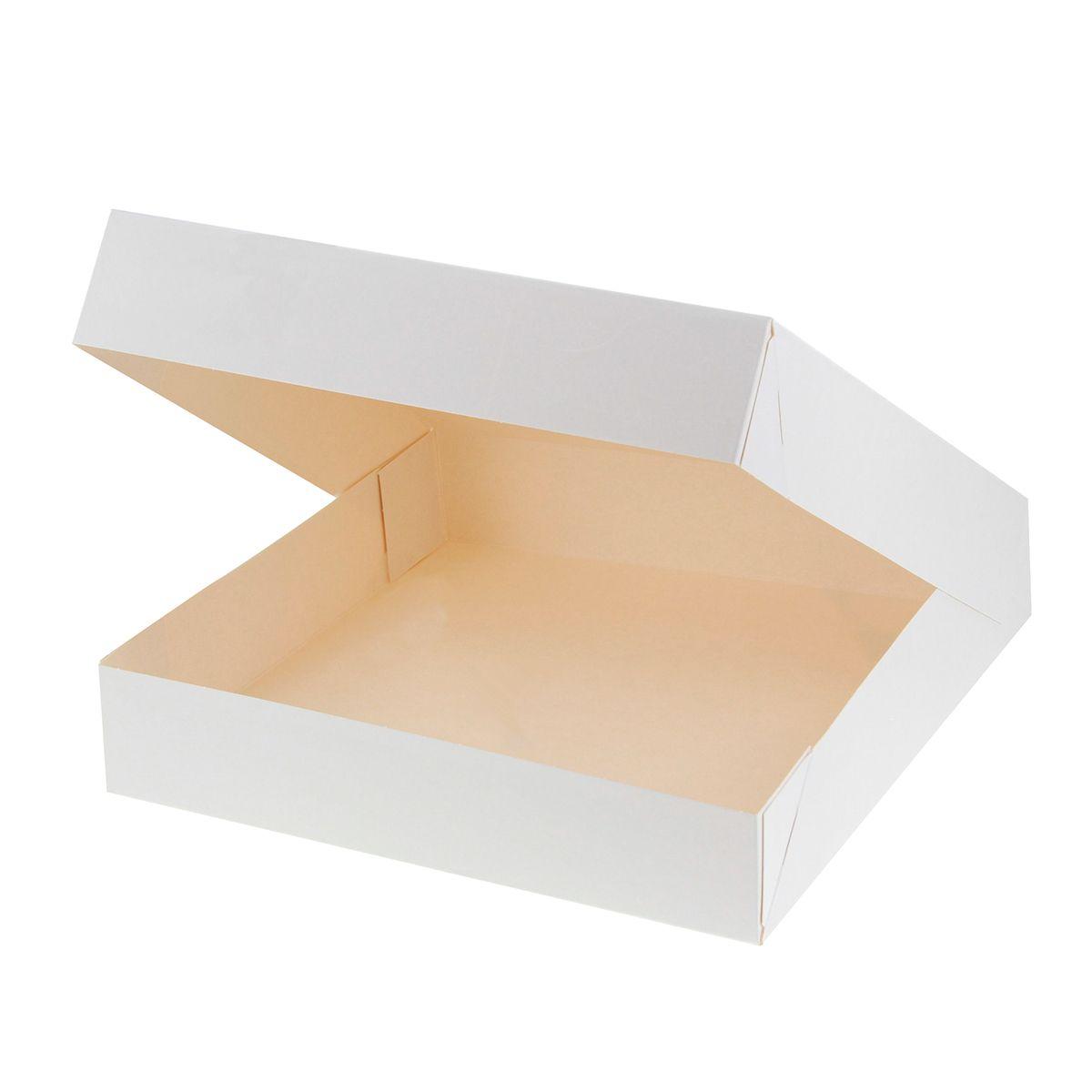 Boîte à gâteaux blanche 26 x 26 x 5 cm - Patisdecor
