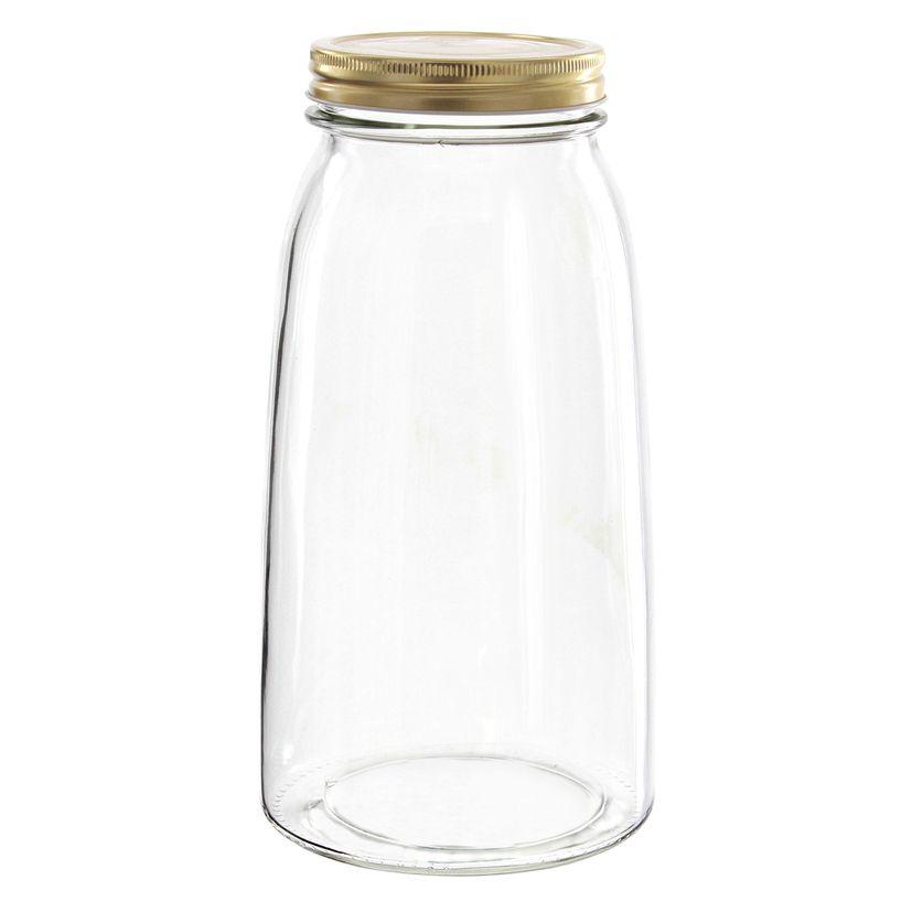Bocal en verre couvercle doré 2l - Borgonovo